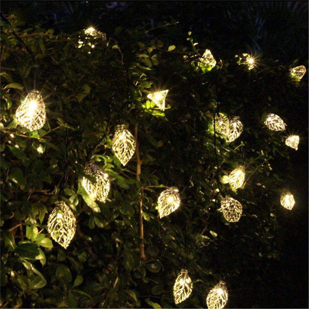 Vacio Solar String Lights, 20 LED Leaves String Lights Outdoor Waterproof Solar Powered Fairy Lights for Outdoor,Garden, Patio-Warm White