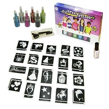 Glitter Tattoo Kit 29 Princess 96 Girls Mini Stencils 8 Glitters Gems Glue