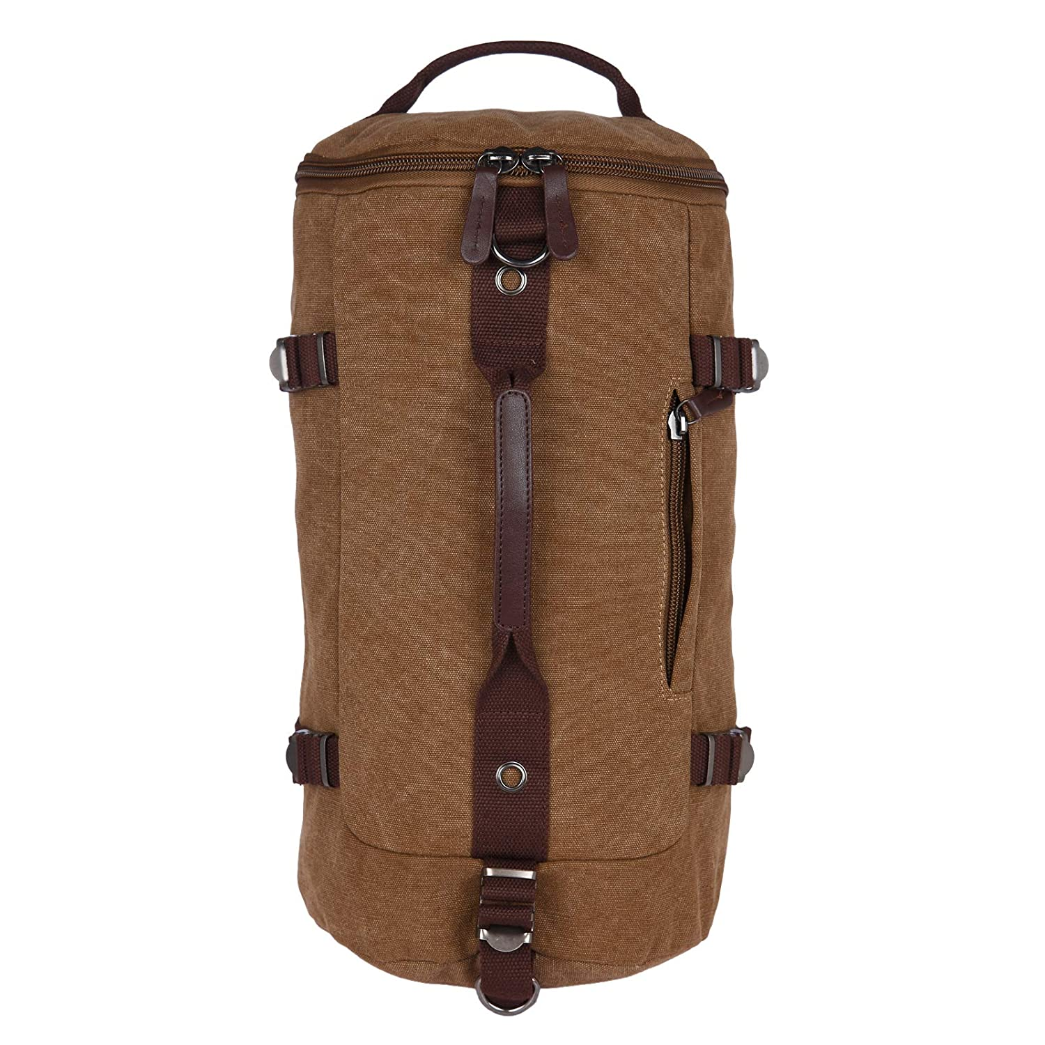 FUR JADEN Canvas Khaki Duffle Travel Bag with Backpack Straps and Long  Shoulder Strap  Amazon.in  Bags b543ea2724d4f