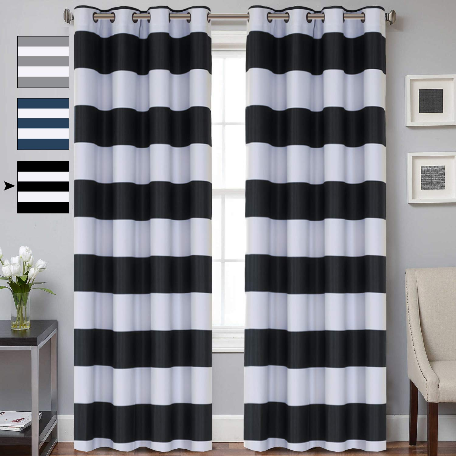 Turquoize Striped Blackout Curtains Elegant Grommet Thermal Insulated Black  and White Curtains Drapes for Living Room/Bedroom 52W x 96L, 2 Panels