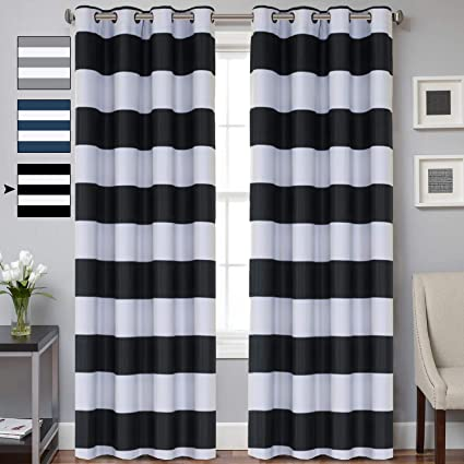 Amazoncom Striped Curtain Room Darkening Grommet Unlined Window