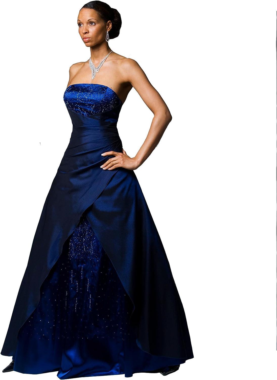 Exklusives Abendkleid Ballkleid Mit Perlenbestickung Star Weiter Rock In A Linie Und Schnurung Im Rucken Blau Gr 54 Amazon De Bekleidung
