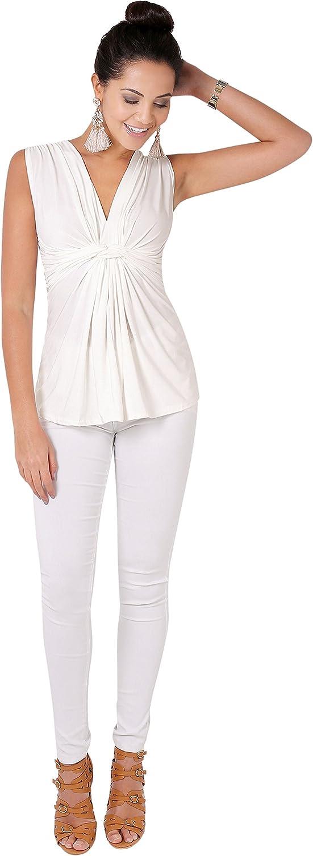 KRISP Women Sleeveless Knot Front Tops V Neck Ruched Vest Blouse