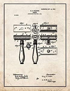 """Gillette Razor Patent Print Old Look with Border (8.5"""" x 11"""") M10878"""