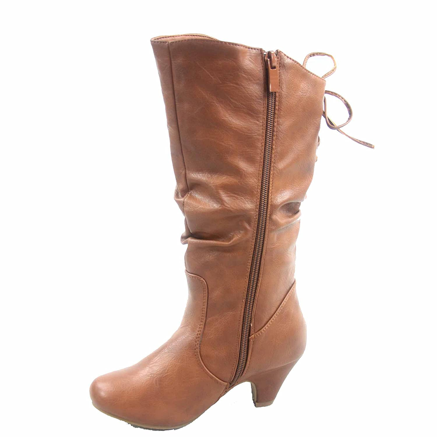 Win-40k Girls Youth Fashion Round Toe Low Heel Slouch Half Back Lace Zipper Boots Shoes