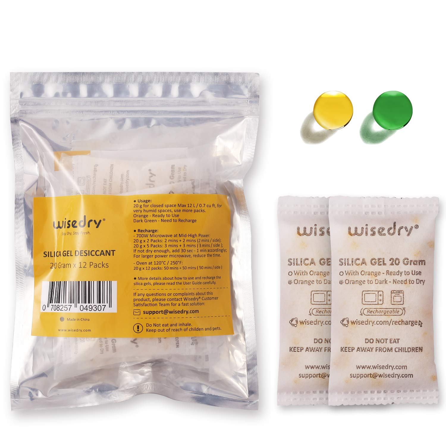 wisedry 20 Gram [12PACKS] Rechargeable Silica Gel Desiccant Packets Desiccant Bags Orange to Green indicating for Air Dryer Food Grade