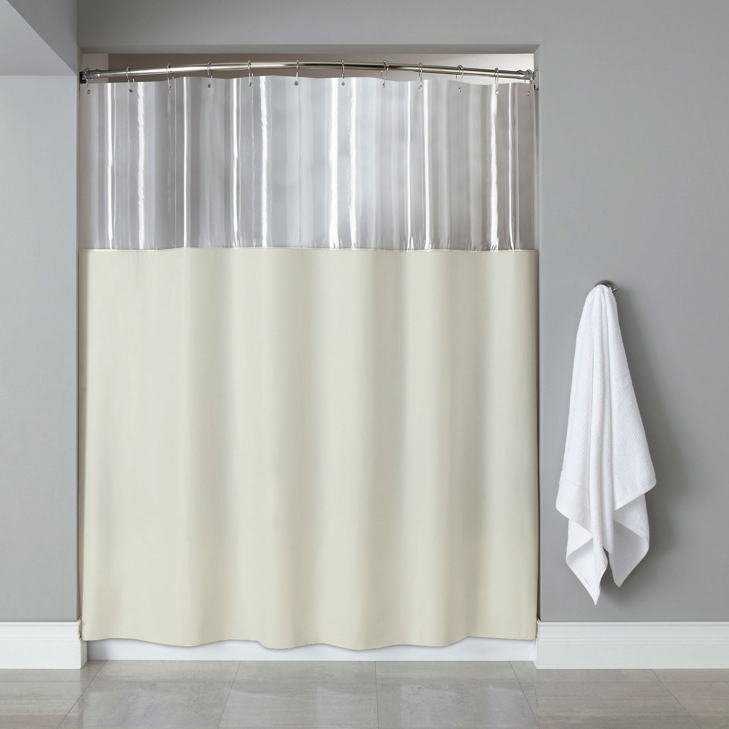 Sweet Home Collection Extra Long 84 X 72 Shower Curtain With Clear See Through Top Antibacterial Antimicrobial Treated Mildew And Water Resistant