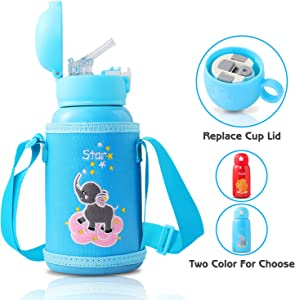 UJoyFeel Kids Water Bottle Thermos Bottle Kids Vacuum Insulated Stainless Steel Bottle Double Walled with Straw Durable Lip Cups for Cooling & Keep Warm Leak Proof 20oz