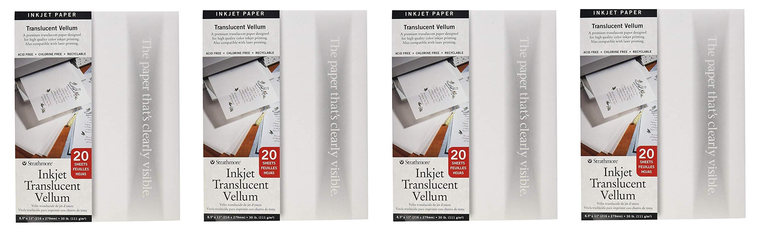 Strathmore 59-803 Translucent Vellum Inkjet Paper, 8.5''x11'', 20 Sheets (4-Pack)