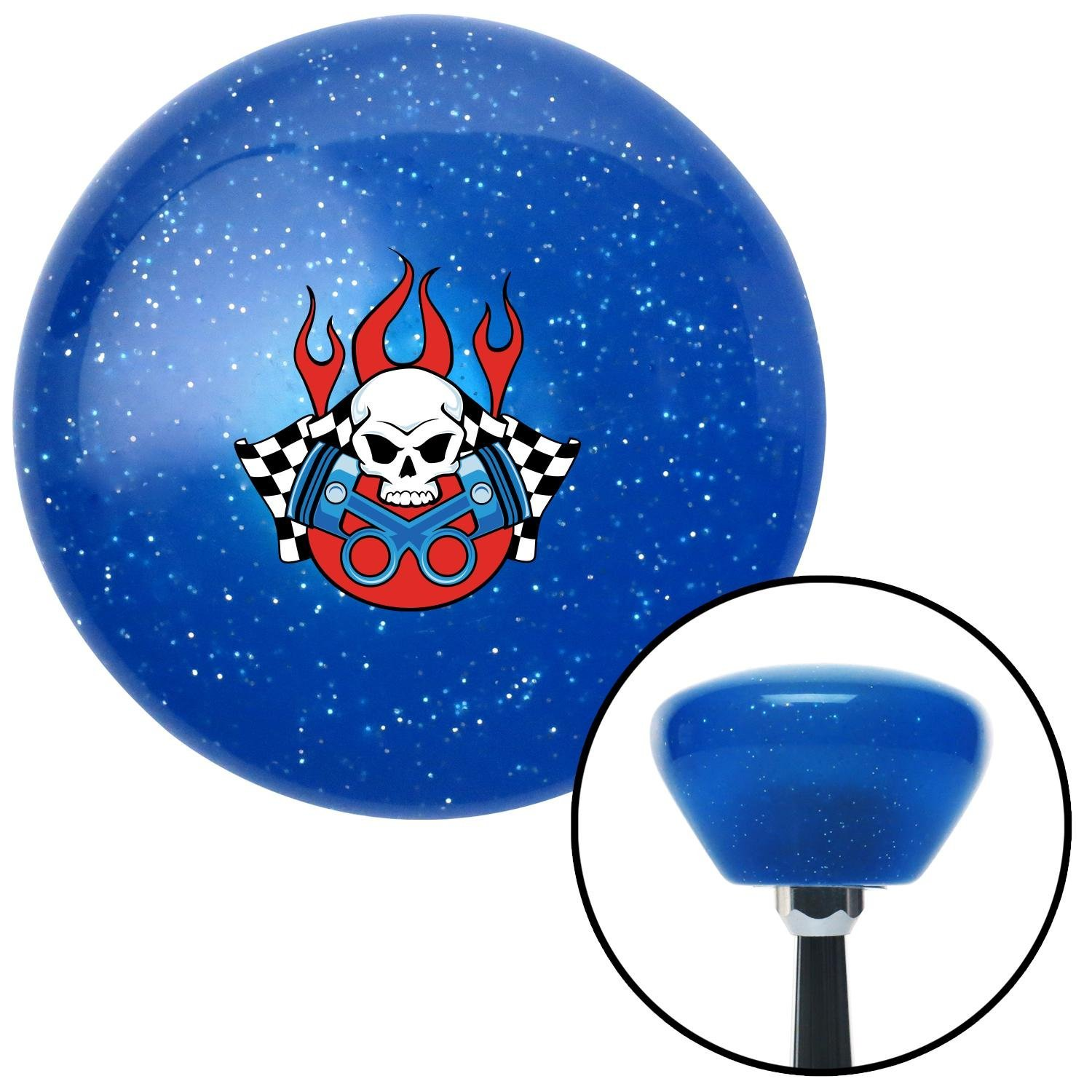 Skull and Pistons 2 American Shifter 191452 Blue Retro Metal Flake Shift Knob with M16 x 1.5 Insert