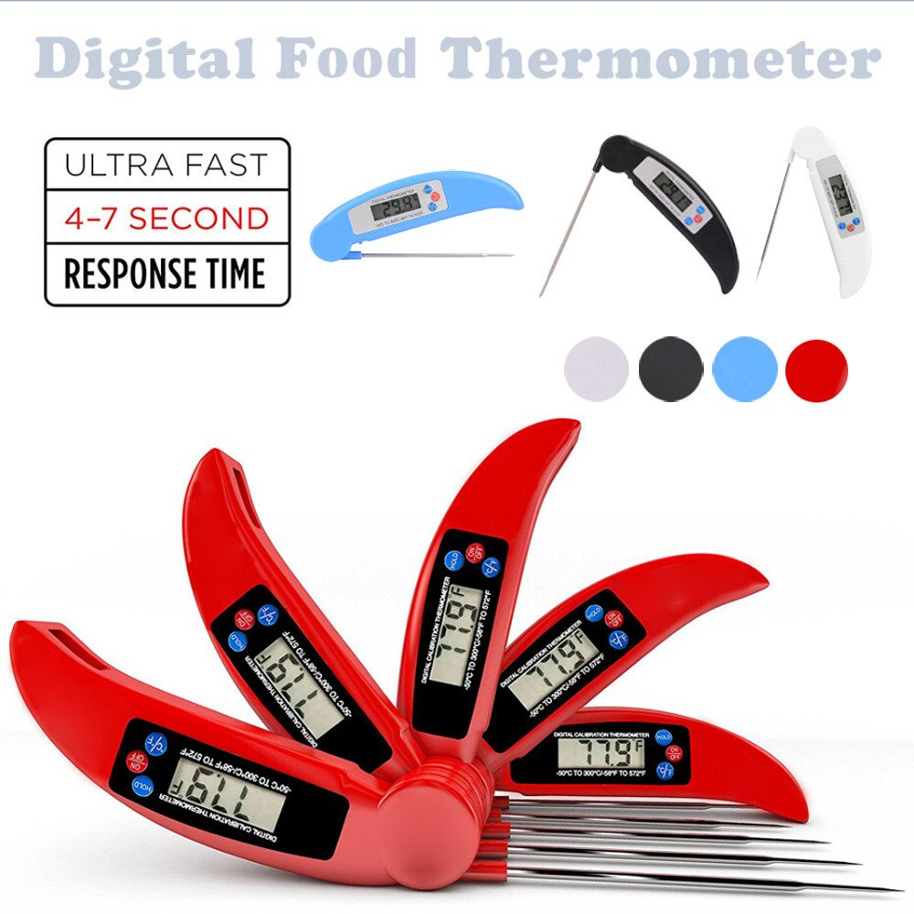 Voberry Meat Thermometer Digital Instant Read Folding Probe BBQ Turkey Oven Kitchen Safe Cooking Food Grilling Electronic Probe Oil Temperature Thermometer (Black)