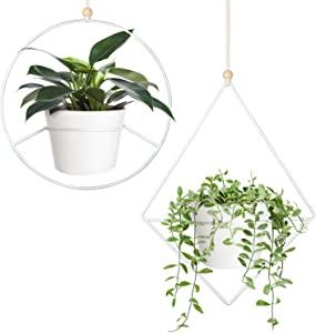 Mkono Boho Hanging Planter, Set of 2 Metal Plant Hanger with Plastic Pots, Modern Mid Century Flower Pot Plant Holder in Diamond and Circle Shape, Fits 6 Inch Planter (Plastic Pots Included), White