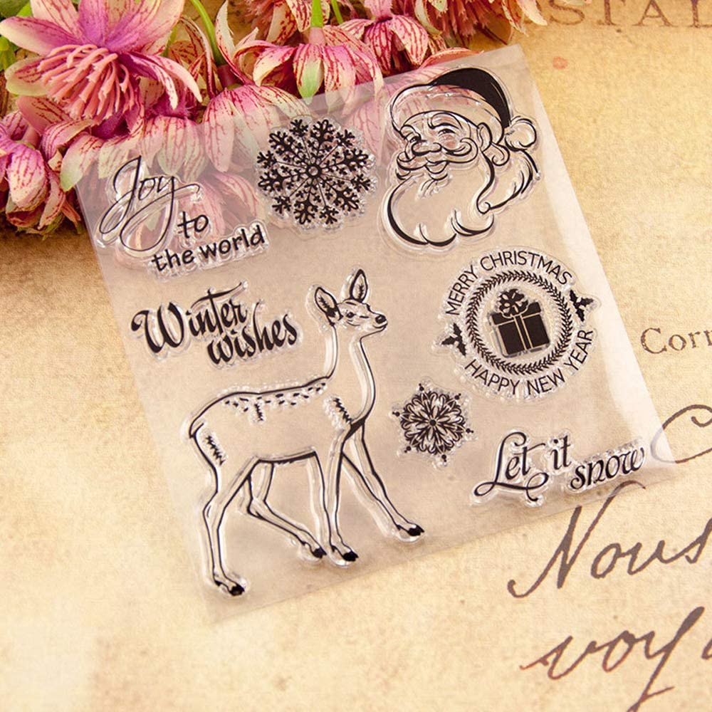 4.3 by 6.3 Inches Happy Birthday Merry Christmas Letters Clear Stamps for Scrapbooking Card Making Birthday Rubber Stamps