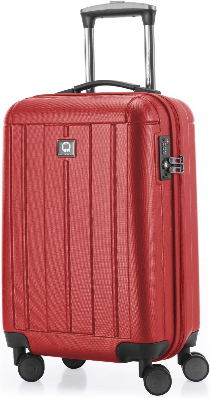 HAUPTSTADTKOFFER - Kotti - Equipaje de mano, Maleta cabina,  Trolley, 4 ruedas, ABS, ligero,  TSA,  56 cm, 37 litros, Rojo