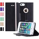 iPhone5S ケース iPhone5 ケース iPhone SE ケース,Fyy 100%手作り 高級PUレザー ケース 手帳型 スマホケース スマホカバー 横開き 財布型 カバー カードポケット スタンド機能 マグネット式 スマートフォンケース iPhone SE/5S/5 対応 ブラック