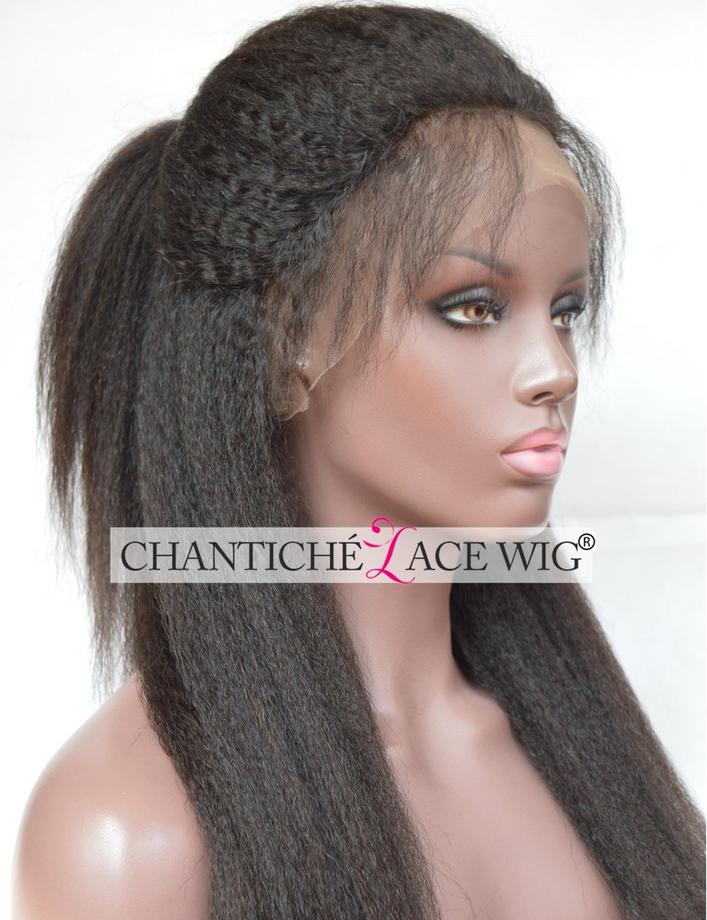 Chantiche Natural Looking Italian Yaki Glueless Full Lace Wigs with Baby Hair for Black Women Best Brazilian Remy Human Hair Wig 130 Density 16inch Natural Color by Chantiche Lace Wig (Image #1)