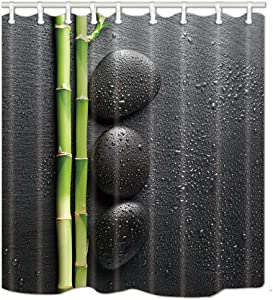 NYMB Spa Decor, Zen Garden Theme Stone and Bamboo on Black Shower Curtain,Polyester Fabric Yoga Bathroom Decorations, Bath Curtains Hooks Included, 69X70 inches, Green