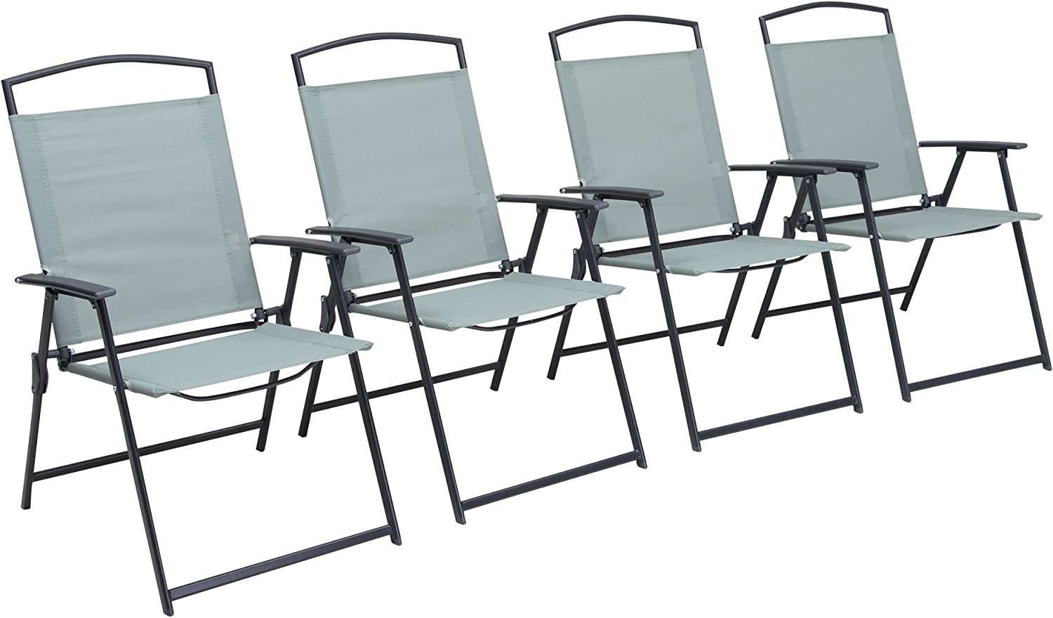 Pellebant Set of 4 Patio Dining Chairs, Outdoor Folding Chairs with Armrest, Patio Furniture Chairs for Camping, Beach, Backyard, Garden, Poolside, Green