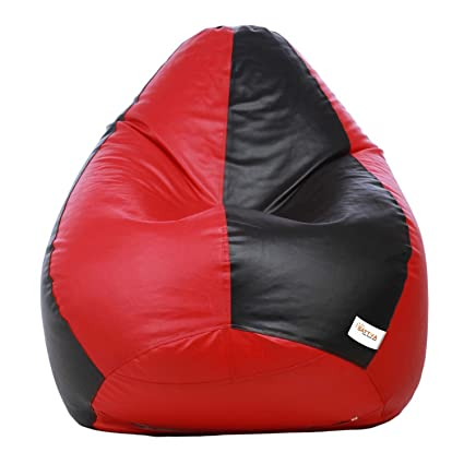 Sattva Classic XXL Bean Bag Filled with Beans - Black and Red