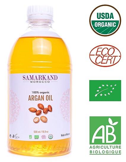 500 ml Aceite de Argán Bio 100% Puro con certificado Ecológico ECOCERT primera Presión en