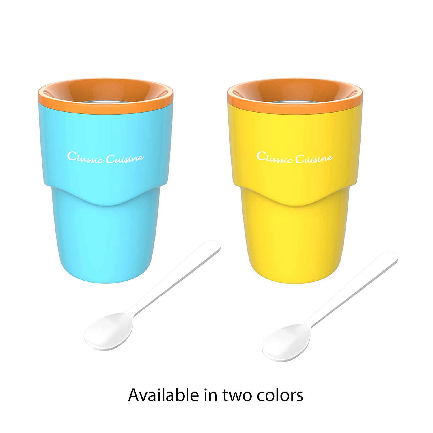 Slushy Maker-Single Serving Frozen Treat Cup for Easy to Make Homemade Slushes and More by Classic Cuisine Milkshakes Cocktails Smoothies Blue