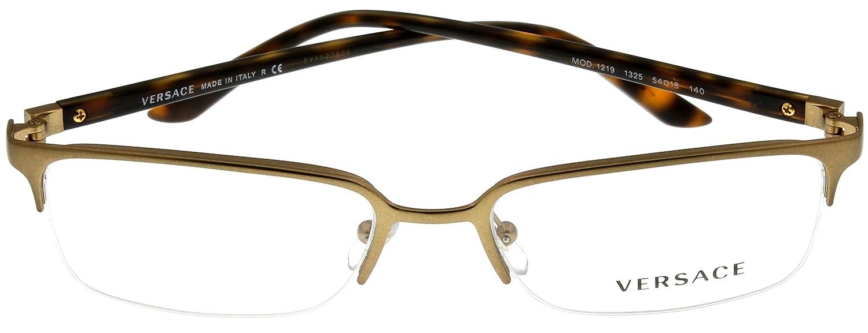 cfa4e5b45aa8 Amazon.com: Versace Womens Eyeglasses Designer Brass Semi Rimless VE1219- 1325: Clothing