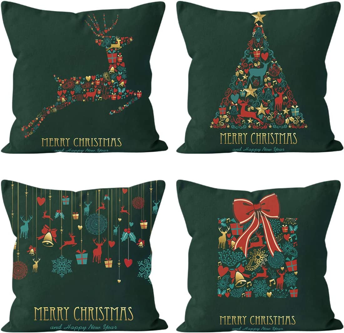 Christmas Pillow Covers-18x18 Inch Throw Pillow Cover Green Xmas Pillow Case for Couch Farmhouse Home Decor Set of 4(Reindeer Tree)