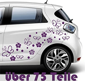 PcsHibiscusFlower Butterflypurple Cm High Quality - Vinyl decals for cars uk