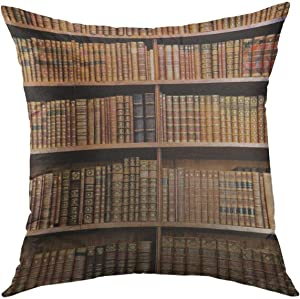 Mugod Decorative Throw Pillow Cover for Couch Sofa,Brown Law Old Books in the Library of Vienna Shelf Bookshelf Home Decor Pillow case 18x18 Inch
