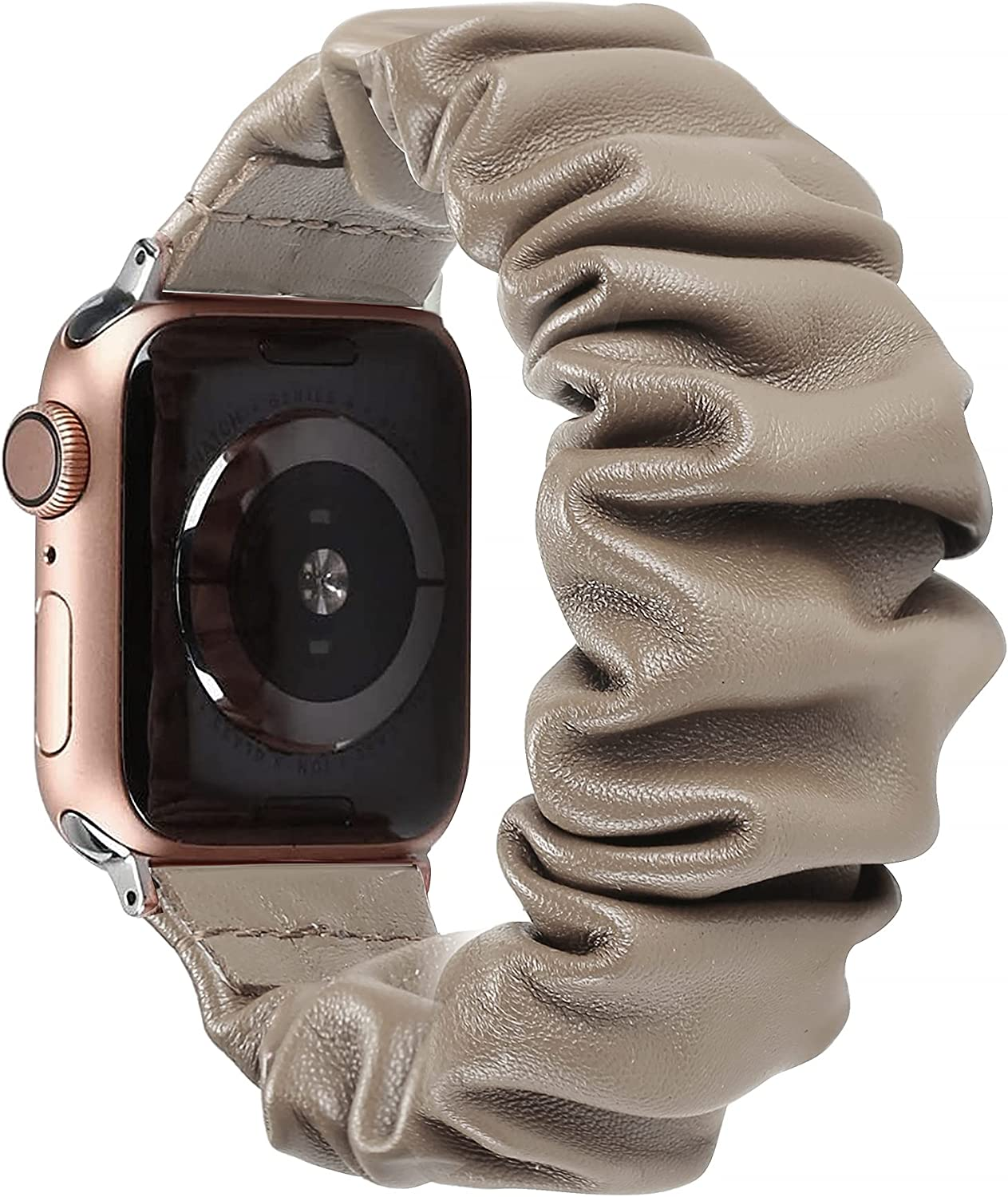 Secbolt Goatskin Scrunchie Bands Compatible with Apple Watch Band 38mm 40mm iWatch Series SE/6/5/4/3/2/1, Leather Scrunchy Band for Women