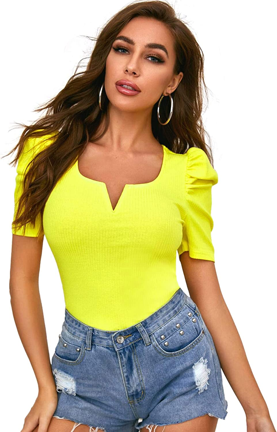 Square Neck Puff Sleeve Short Sleeve Button Front Elegant T Shirt Blouse Top