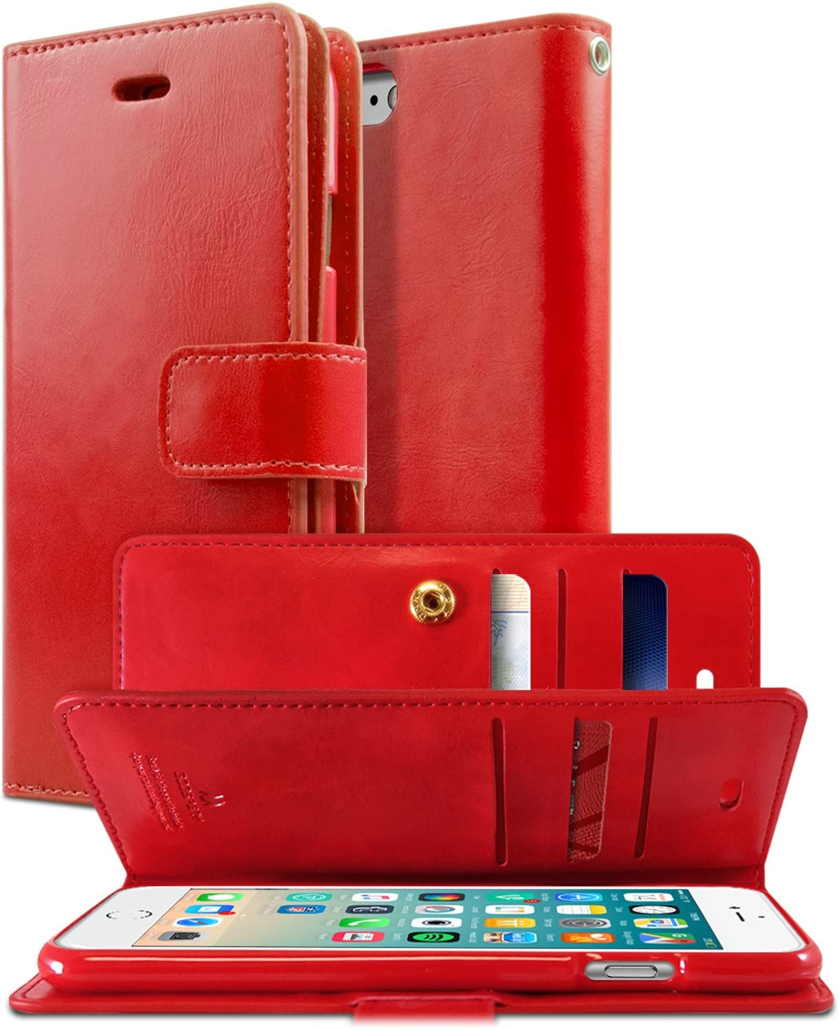 GOOSPERY Mansoor Wallet for Apple iPhone SE 2020 Case, iPhone 8 Case, iPhone 7 Case, Double Sided Card Holder Flip Cover (Red) IP7-MAN-RED