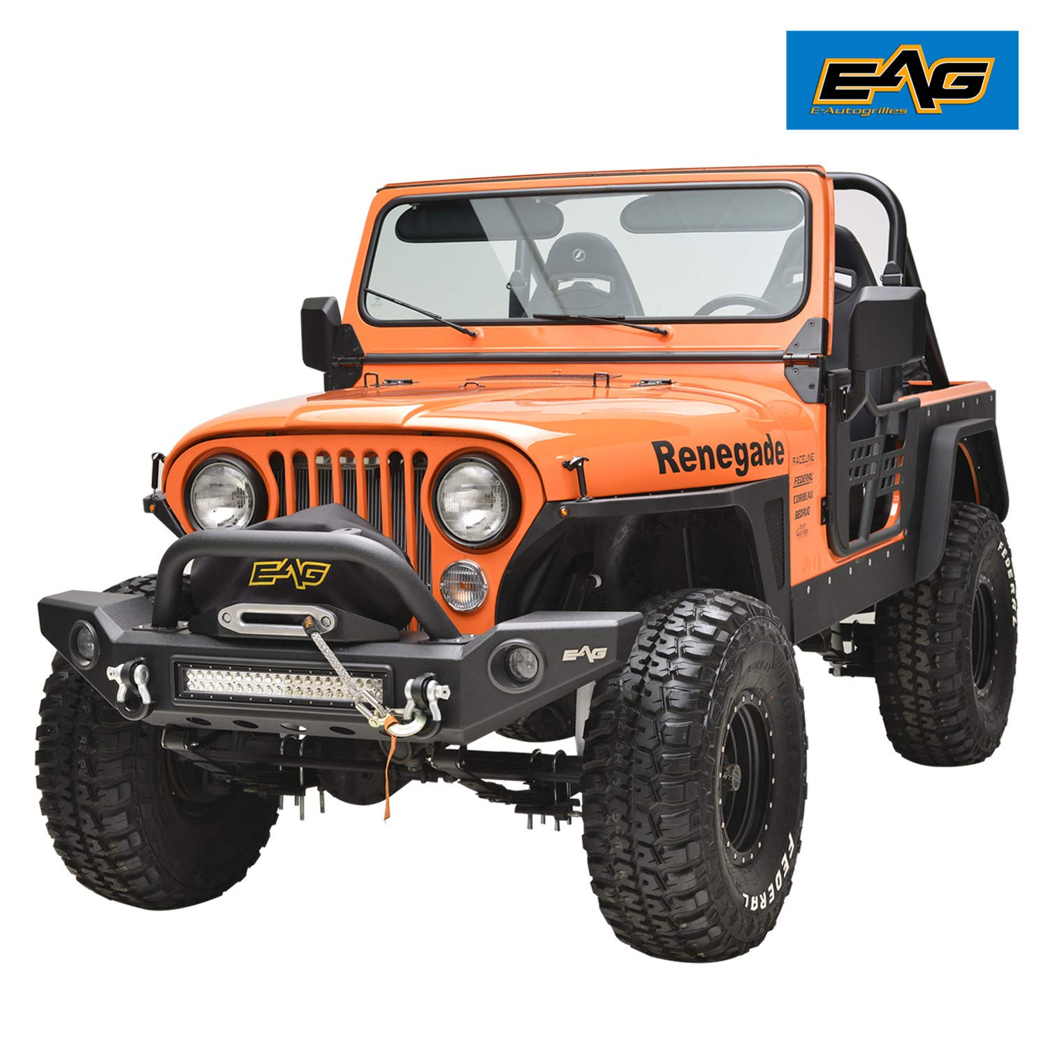 EAG Rock Crawler Full Width Front Bumper With LED Lights /& Light Surrounds for 76-86 Jeep Wrangler CJ