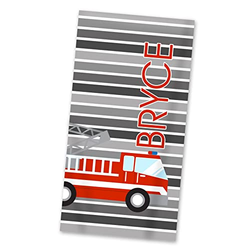 Amazon com: Fire Truck Beach Towel - Gray Fire Engine Pool