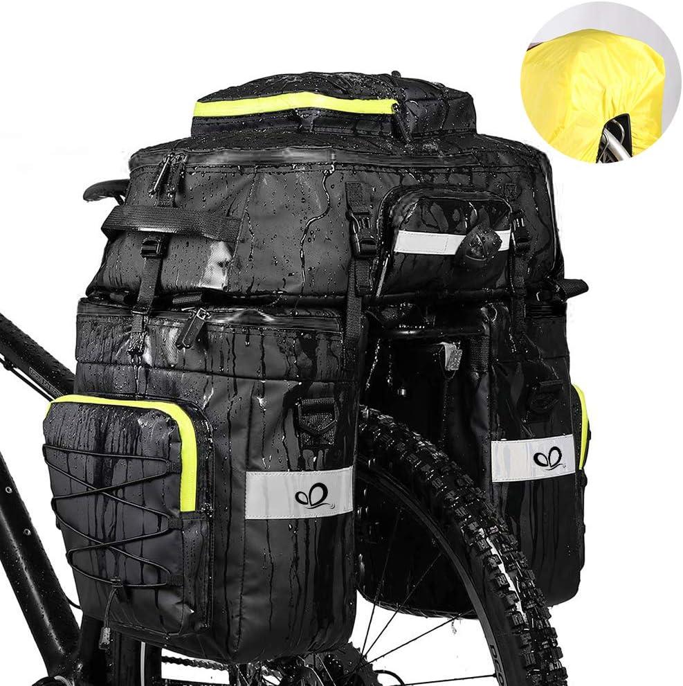 Waterfly Bike Bag Bike Pannier Bag Waterproof Bike Saddle Bag Shoulder Bag with Rain Cover for Riding Cycling (3 in 1) (Black)
