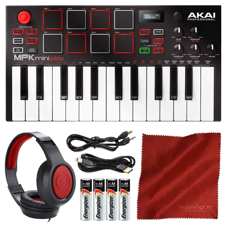 Akai Professional MPK Mini Play Compact Keyboard and Pad Controller + Headphones + Premium Accessory Bundle