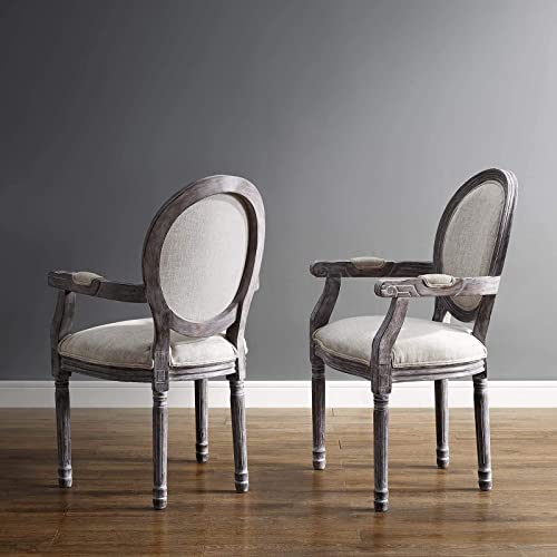 Modway Emanate Dining Armchair Upholstered Fabric Set of 2, Two, Beige