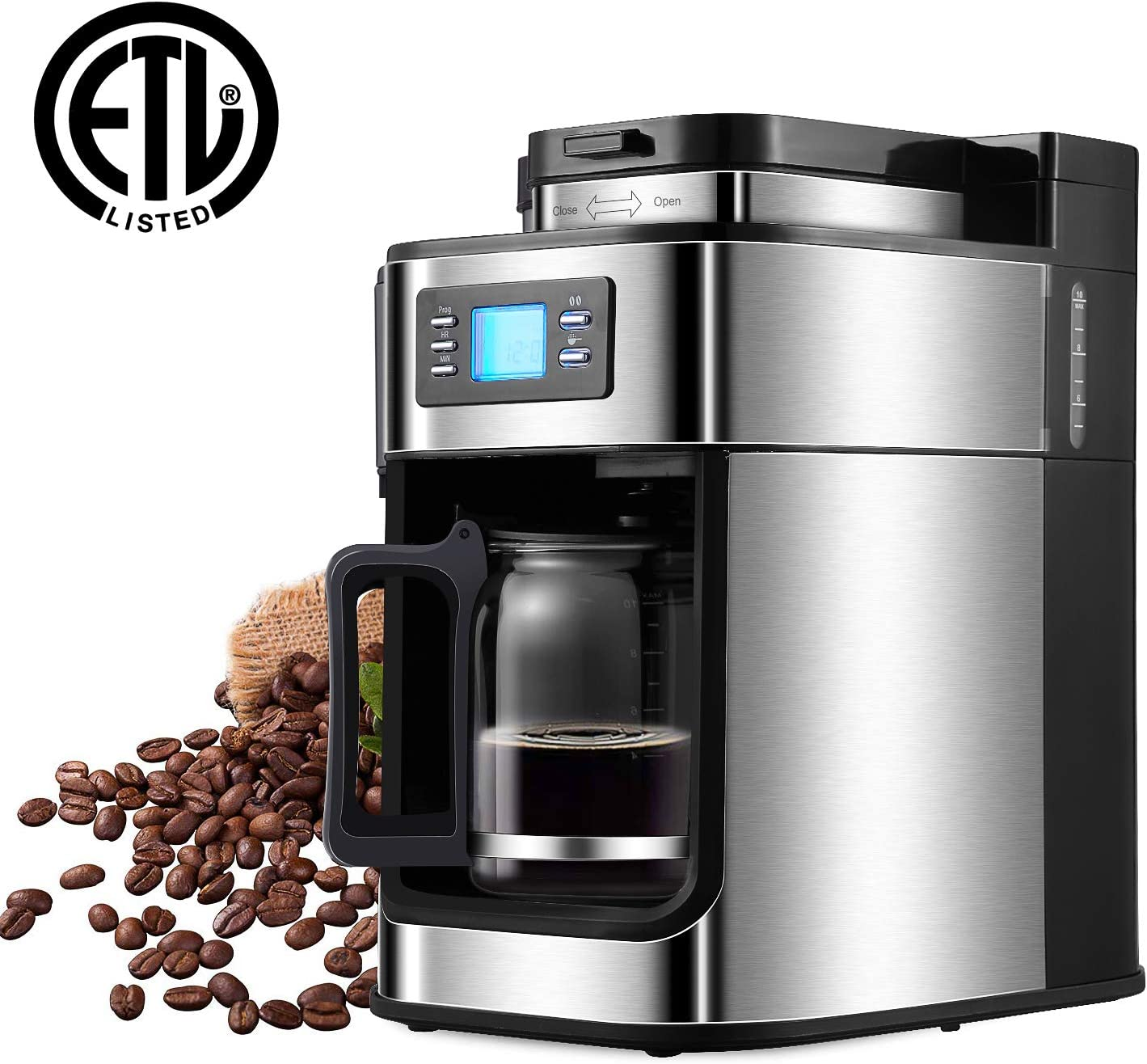 Coffee Maker,5 Cup Sizes Programmable Drip Coffee Maker with Coffee Pot, Timer LED Display Automatic Coffee maker Machine Brewer for Office Kitchen