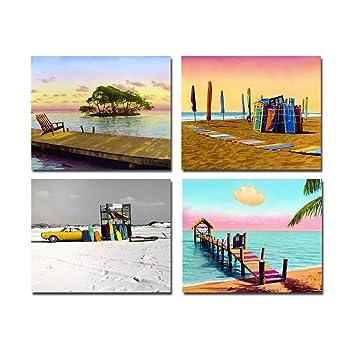 Amazonde 4 Sommer Blau Meer Und Himmel Cool Urlaub Strand Leinwand