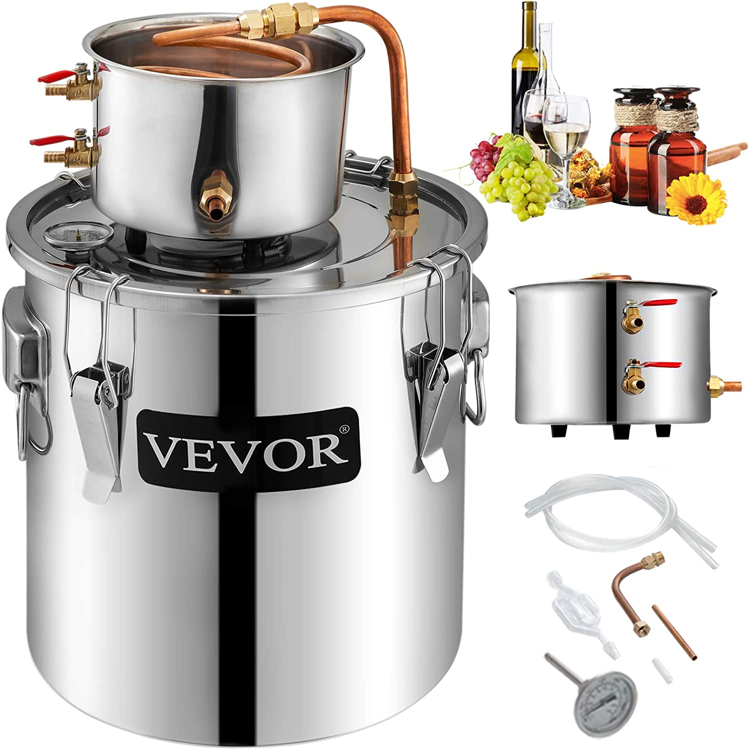 VEVOR Moonshine Still 9.6Gal 38L Stainless Steel Water Alcohol Distiller Copper Tube Home Brewing Kit Build-in Thermometer for DIY Whisky Wine Brandy, Sliver