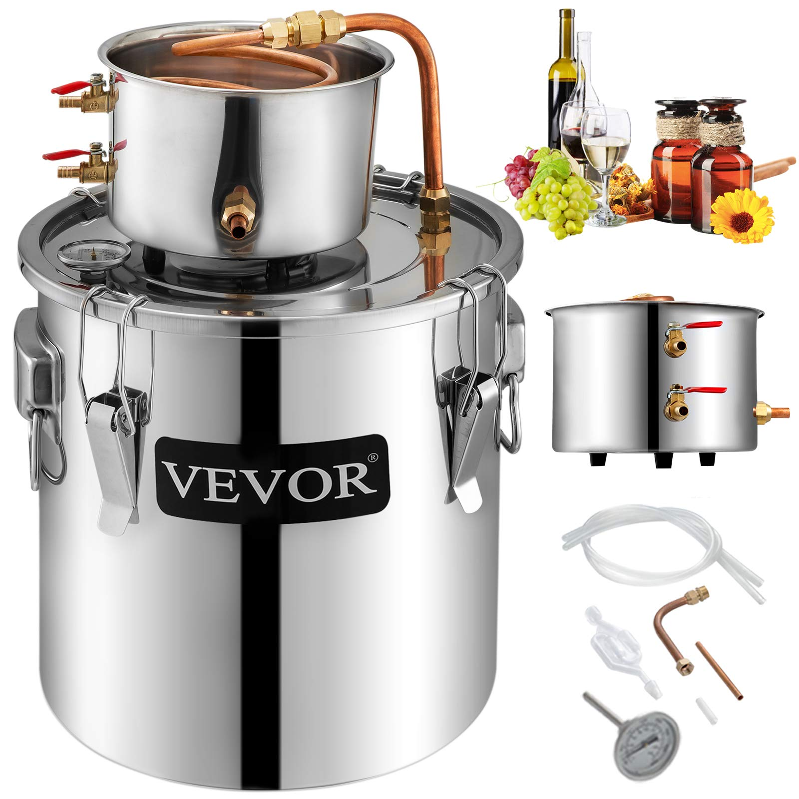 VEVOR Moonshine Still 9.6Gal 38L Stainless Steel Water Alcohol Distiller Copper Tube Home Brewing Kit Build-in Thermometer for DIY Whisky Wine Brandy, Sliver by Vevor