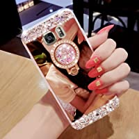 Silicone Mirror Case for Samsung Galaxy S6, Soft Flexible Glitter TPU Case Cover Bling Glitter Crystal Rhinestone Diamond Sparkle Shiny Skin Case with Bling Luxury Ring Stand Holder Kickstand for Samsung Galaxy S6,Hancda Silicone Case Ultra Thin Fit Slim Makeup Mirror TPU Rubber Bumper Protective Back Phone Case Cover for Samsung Galaxy S6 - Rose Gold