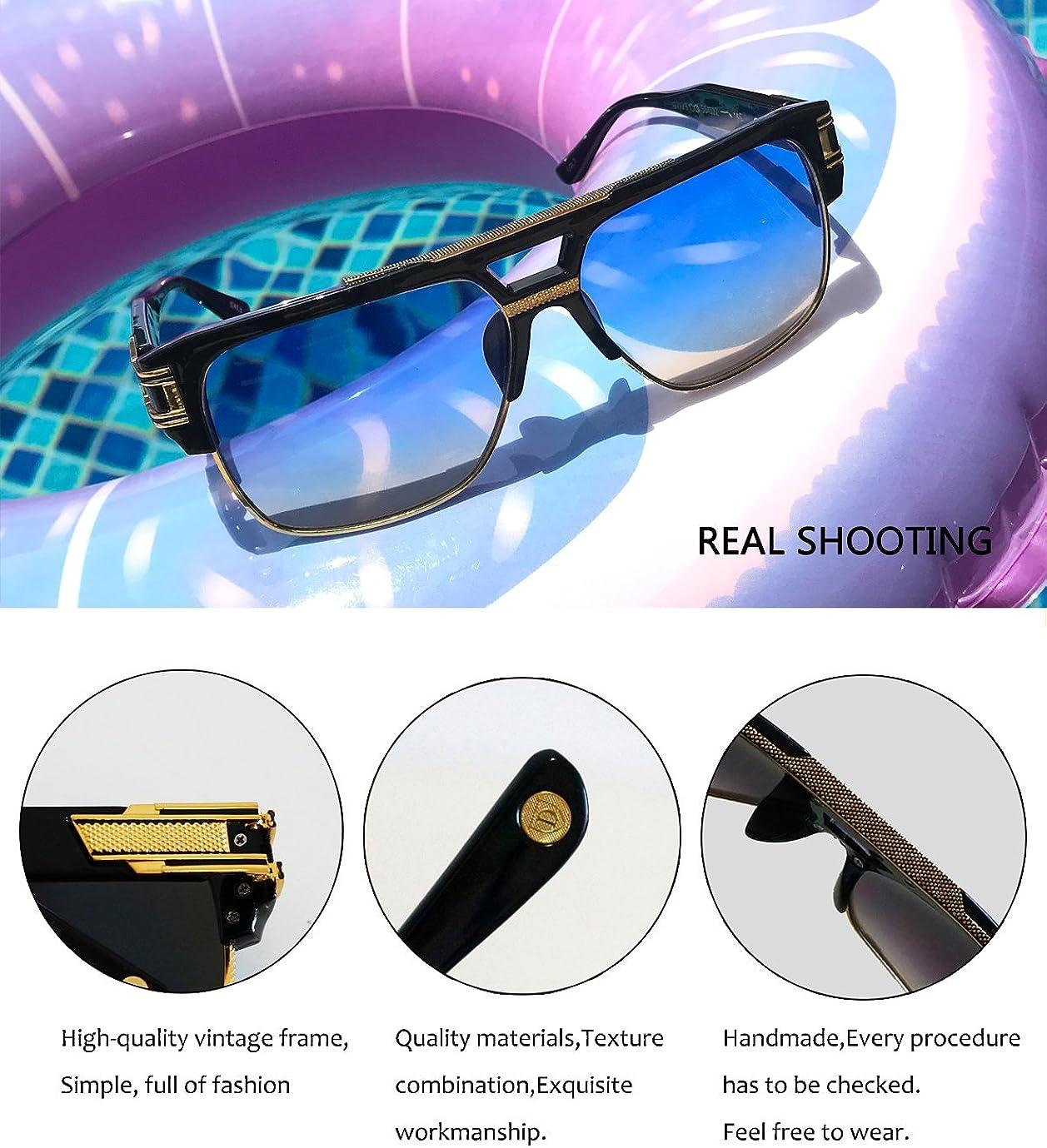 Retro Oversized Pilot Sunglasses Metal Frame for Men Women Square SunGlasses Gold