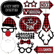 Prancing Plaid Holiday - Buffalo Plaid Christmas Photo Booth Props Kit - 20 Count
