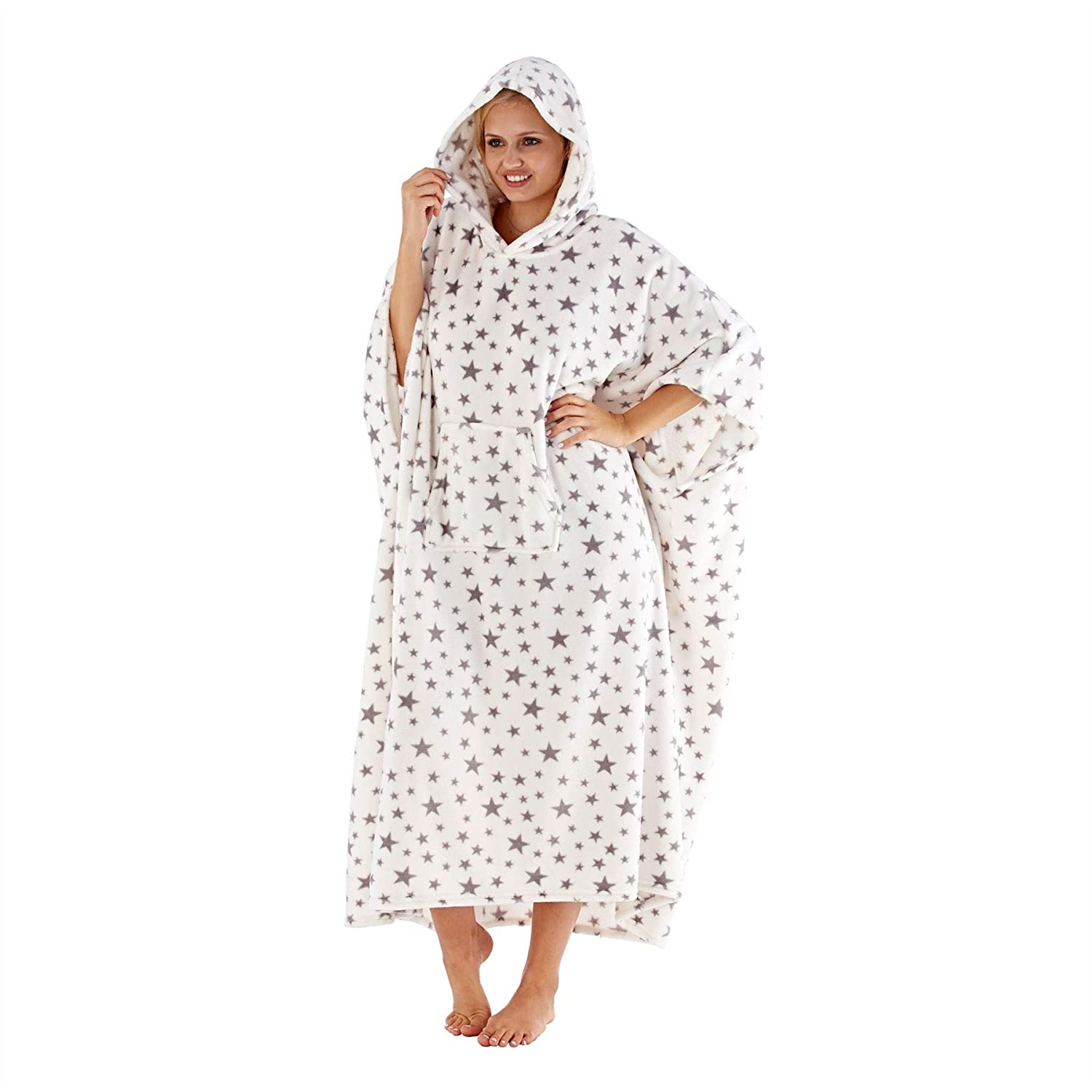 8a0e14719f Masq Ladies Womens Star Print Fleece Hooded Poncho Lounger Dressing Gown  Robe White One Size  Amazon.co.uk  Clothing
