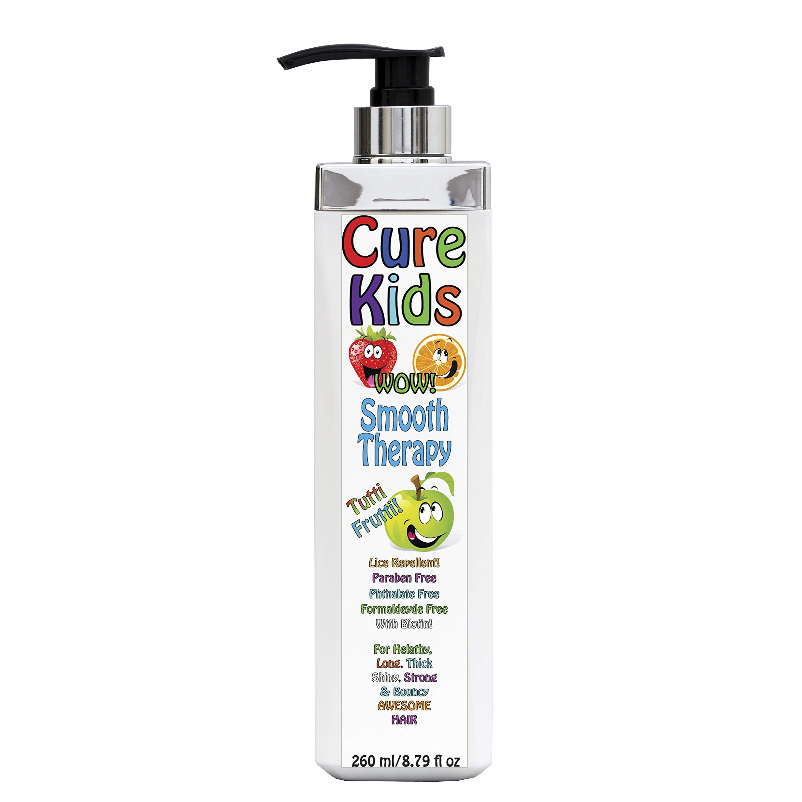 Cure Kids Wow! Smooth Therapy Silky Shiny Hair Treatment for your kids. Safe, Paraben Free, Lice Repellent. Swimmers Safe for all little ones children child baby babies hair (8 fl oz) by Keratin Cure