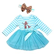 AILOM Infant Toddler Baby Girls Blue Long Sleeves Cotton Striped Tulle Tutu Dress With Gold Sequins Bowknot Headband (Blue, 6-12Months)