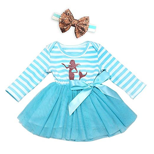 9309215cde62 Amazon.com  AILOM Infant Toddler Baby Girls Blue Long Sleeves Cotton ...