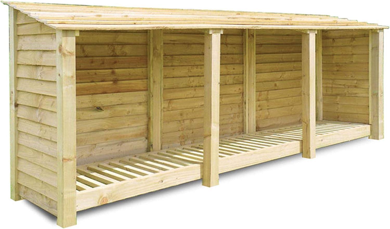Rutland County Garden Furniture - Cobertizo para almacenar leña (3 Espacios, 335 x 122 cm, Madera tratada a presión, Hecho a Mano): Amazon.es: Jardín