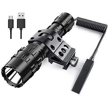 POVAST Tactical flashlight with Picatinny Rail Mount, 1200 lumens LED